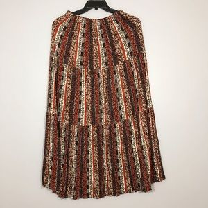 """Dresses & Skirts - """"One Size"""" Retro Print Fully Pleated Long Skirt"""